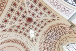 Wellington Railway Station classical architectural style intricately decorated main concourse domed ceiling.